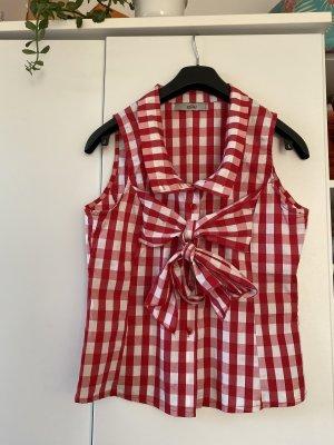 Koszulka z golfem biały-czerwony