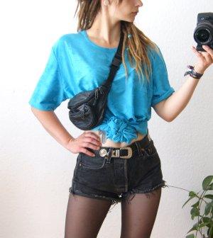 Vintage Shirt petrol, florales oversized Shirt cyan, blogger alternative