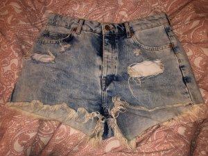 Bershka Short en jean bleu clair-bleu clair
