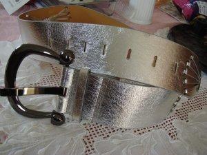 Vintage  - silberber Leder Gürtel sehr breit silber - ausgefallen und edel