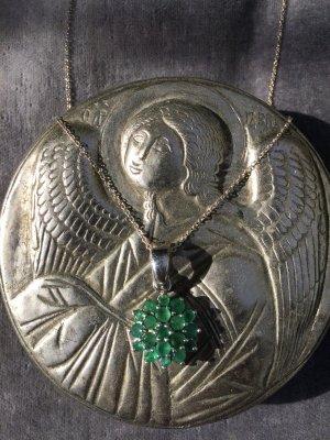Vintage Smaragd Sterlinsilber Anhänger mit Klapp Öse