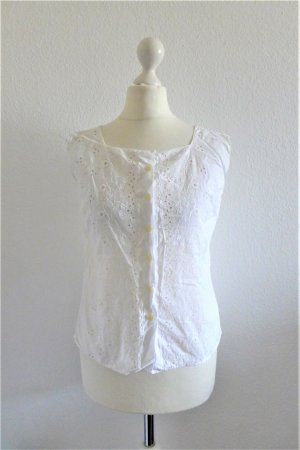 Vintage Sommer Bluse Oberteil Shirt Lochstickerei weiß Gr. 38 S
