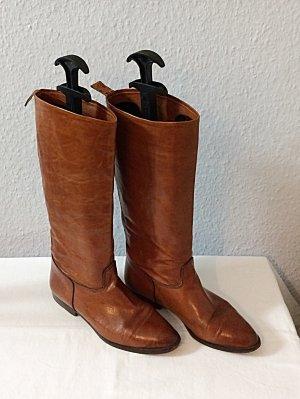 Vintage Bottes à l'écuyère chameau-marron clair cuir