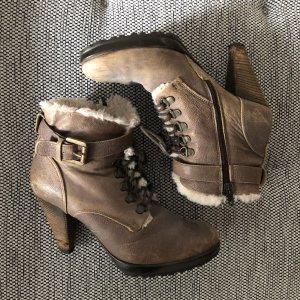 Vintage Stiefelette Stiefel beige 38