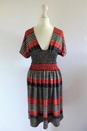 Vintage Stretch Kleid gestreift rot schwarz creme Gr. S 36/38