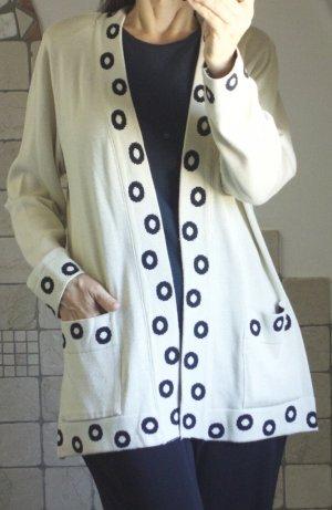 Vintage Strick Cardigan, Adem's Maßkonfektion, Strickjacke, beige, sand mit Bordüre Kreise Muster in schwarz, wunderschön, hochwertig, handmade in Austria Designer, 60% Modal, 40% Cotton, elegant,  hoher NP € 150,- Gr. L Gr. 42