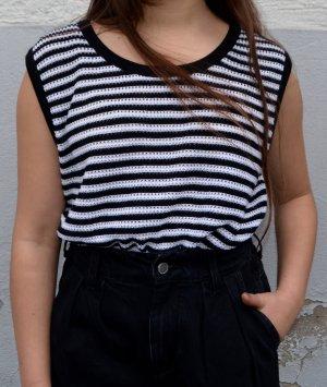 Vintage Sweter bez rękawów z cienkiej dzianiny czarny-biały