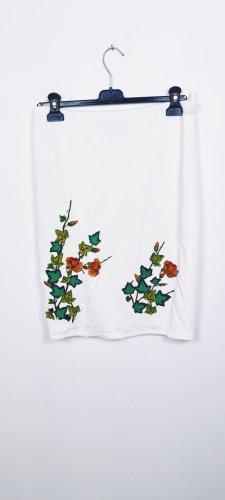Vintage Falda de punto blanco-verde bosque