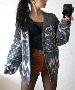 Vintage Strickcardigan Norweger, oversized Cardigan grau, Winter blogger alternative