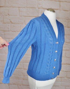 Vintage Strickjacke Trachten Strick Cardigan Größe M 38 Blau Rockabilly Zopfmuster Handarbeit V-Neck