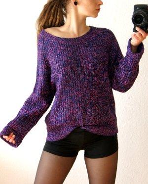 Vintage Strickpullover violett, oversized Sweater meliert, cozy blogger