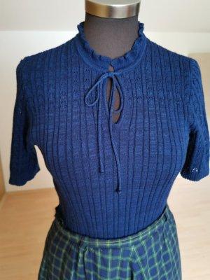 Vintage Camicia maglia blu-blu scuro