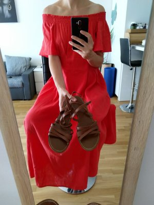 Vintage Sandalias romanas marrón-coñac