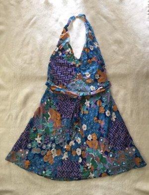 Vintage Vestido de cuello Halter multicolor Algodón