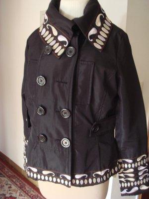 Vintage - SURKANA - Damen Jacke Übergangsjacke Gr. 40 42 schwarz Stickerei