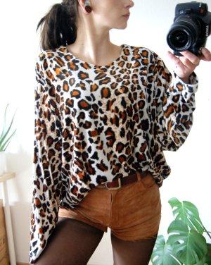 Vintage Sweater Animalprint, oversized Leo Samtpullover, grunge blogger y2k