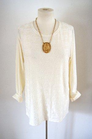 Vintage Sweater creme, oversized Pullover Ornamente, 20er preppy boho