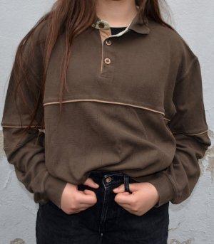Vintage Sweater mit Kord Detail und Knopfleiste Oversized XXS/XS/S/M