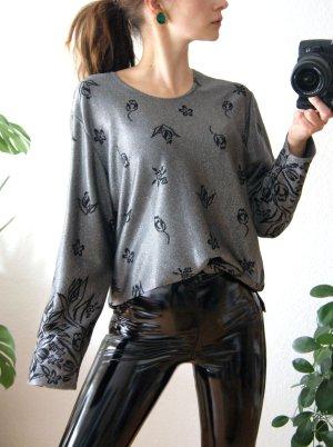 Vintage Sweatshirt silber-glitzer, florales Shirt oversized, boho festival blogger