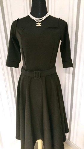 Belsira Sukienka o kroju litery A czarny Tkanina z mieszanych włókien