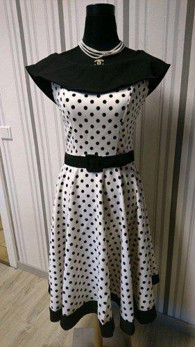 Belsira Sukienka o kroju litery A biały-czarny Tkanina z mieszanych włókien