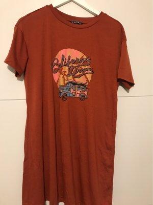SheIn Sukienka o kroju koszulki cognac-ciemny pomarańcz
