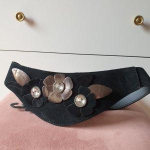 VINTAGE  70er Cinturón pélvico negro-color plata
