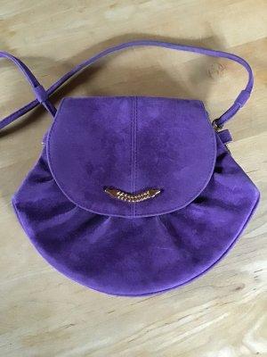 Vintage Tasche 70er Jahre Velours violett/gold