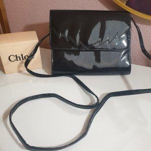 Vintage Tasche Crossbody schwarz Lackleder