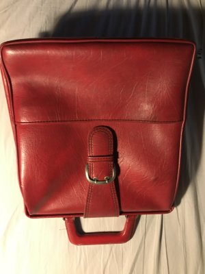 Vintage Tasche, echtes Leder, rot