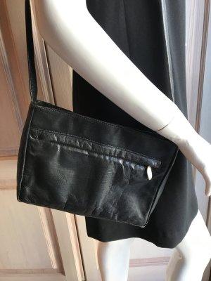 Vintage Tasche Leder schwarz mehrere Fächer mittel