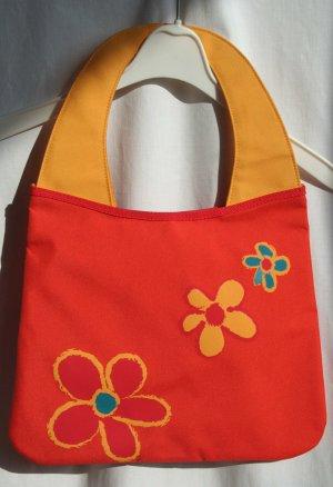 Vintage -  Tasche rot mit gelber Blume - Stoff - France -
