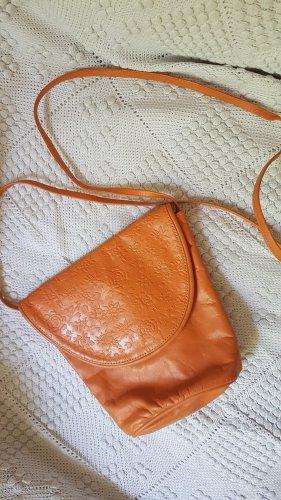 vintage Tasche, Schultertsche, Umhängetasche,  Echtleder, orange