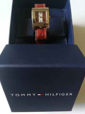 Tommy Hilfiger Reloj con pulsera de cuero blanco-rojo oscuro