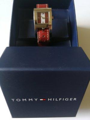 Tommy Hilfiger Montre avec bracelet en cuir blanc-rouge foncé
