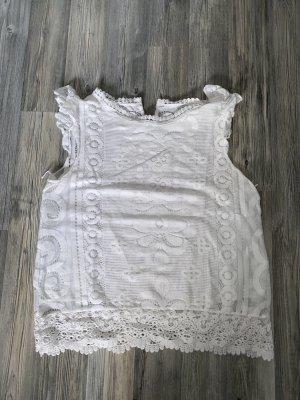 Vintage Haut en crochet blanc-blanc cassé