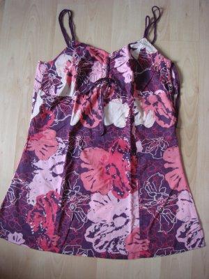 Vintage - Top Gr. 40 mit Spagetti-Trägern - weinrot rosa lila weiß  - Baumwolle