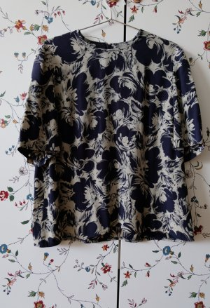 Vintage Blouse topje wit-donkerblauw Acetaat