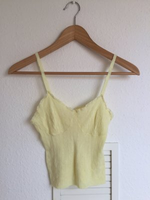 Vintage Koronkowy top bladożółty-jasnożółty