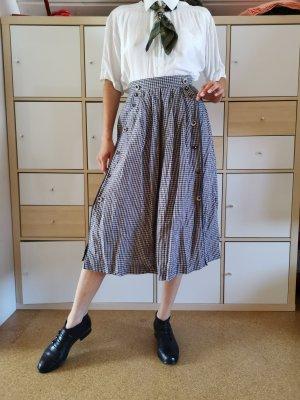 True Vintage Jupe à plis blanc-bleu