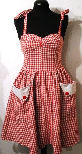 Vintage Trägerkleid rot weiß kariert mit großen aufgesetzten Taschen 60er Jahre