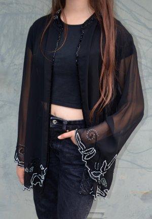 Vintage Kimono negro-blanco