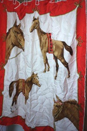 Vintage Tuch, klassisches, sehr schönes Tuch quadratisch mit Pferdemotiv, Print Pferde, creme/hellbeige, hellbraun, Koralle, hellrot, schönes seidiges Material, Materialetikette fehlt, evtl. Viskosemischung 77 x 77 cm, 70iger Jahre, Retro