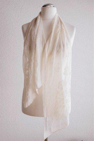 Vintage Tuch Schal Seide Blume Blüten weiß zart Scandi Ausbrenner