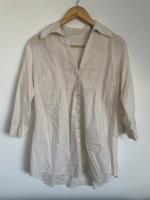 Vintage Tunika Bluse in Creme weiß L