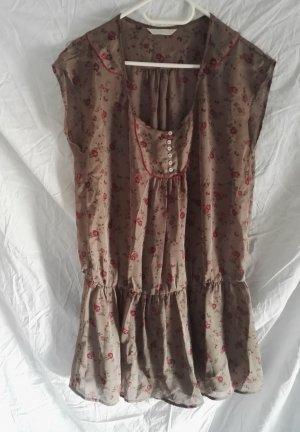Vintage Tunika Mini Kleid von Promod in Dunkelbeige/Aubergine Gr.38 Neu