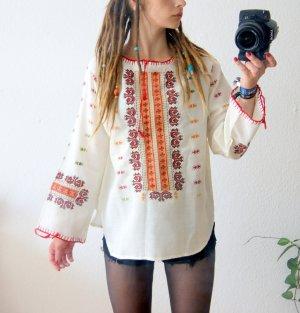 Vintage Tunika mit Stickerei, Folklore Bluse ornamental-bohème, boho 70er