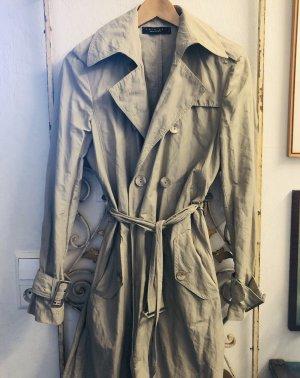 Vintage Twin Set Milano Trenchcoat Jacket mit Crinkle Optik in Taupe Greige Gr.S/M