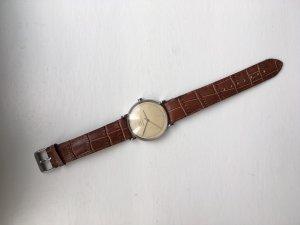 Vintage Uhr braunes Lederarmband