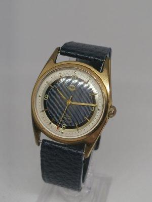 Vintage Horloge met lederen riempje goud-staalblauw